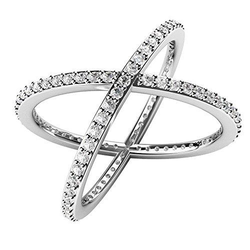 Metal Factory Sterling Silver 925 Cubic Zirconia CZ Criss Cross X Long Ring