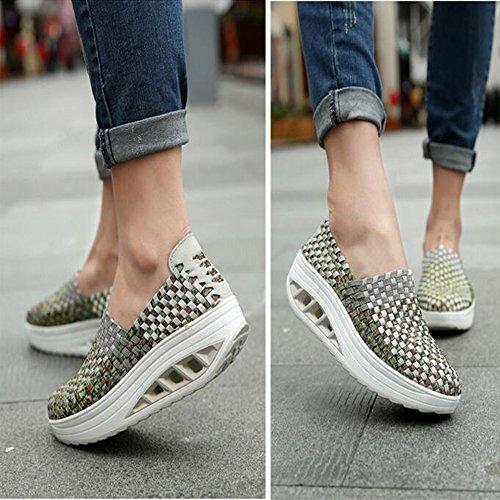 Zapatillas Deportivas de Moda Zapatillas de Deporte de Cuñas de Swing Verde