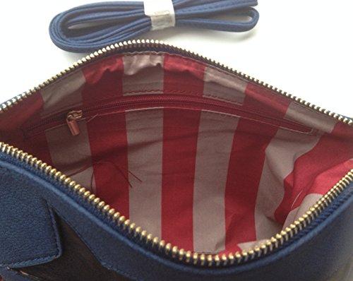 Zaza´z Clutch Handtasche Kunststoff Lederoptik verziert mit 3 Sternen, dunkelblau, rot gestreiftes Innenfutter