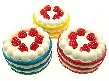 Elevida Squishy Grandes Tartas de Fresa Pack | Slow Rising Jumbo Strawberry Cake Squishies Pack |