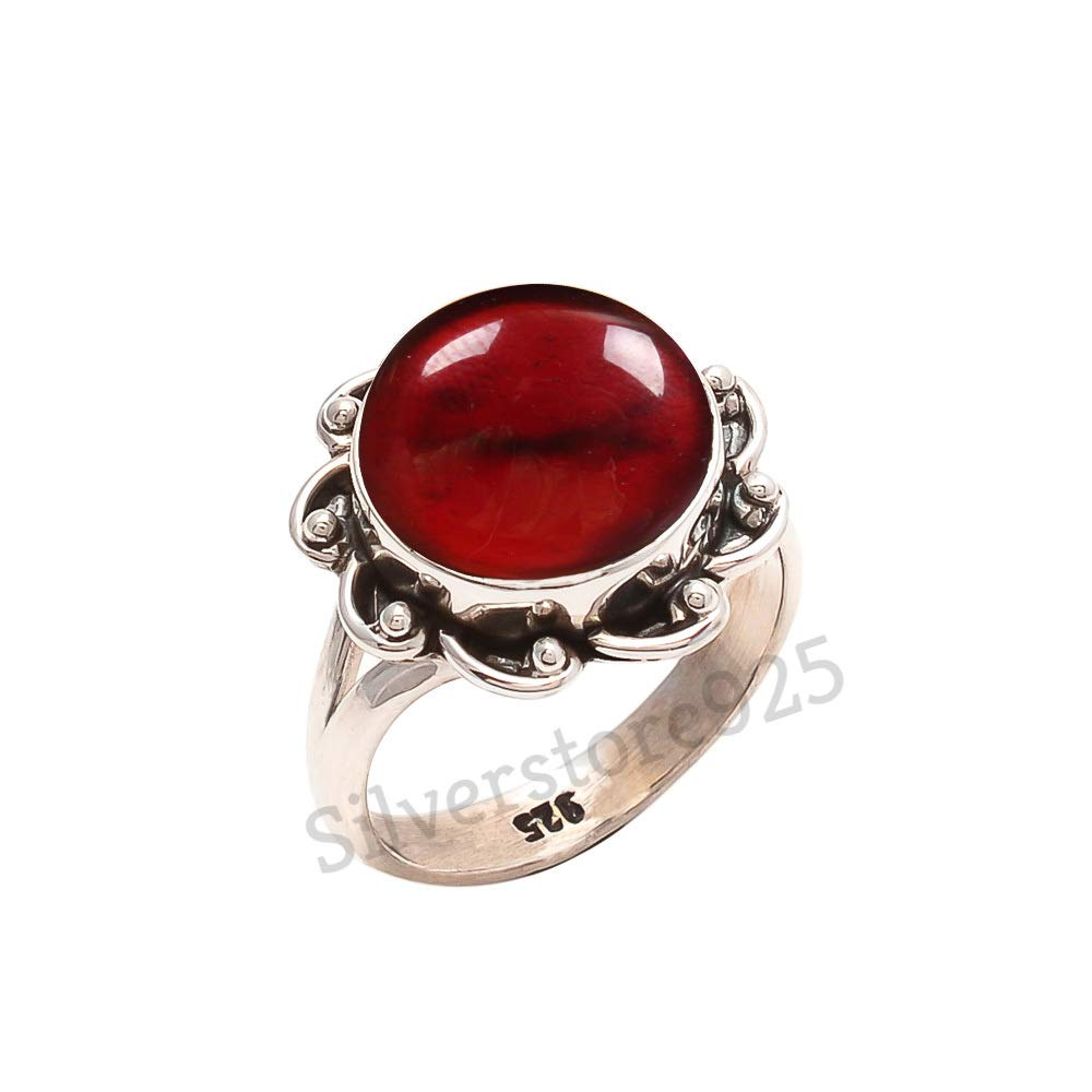 Garnet Stone Gemstone Ring For Girl Women Gift Ring Size 4 5 6 7 8 9 10 11 12 13 14 15 16 925 Sterling Silver Garnet Ring