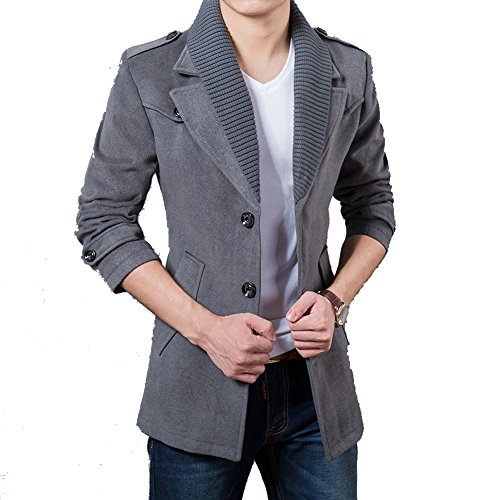 DeLamode Men's Woolen Fleece Long Jacket Knitting Winter Epaulet Warm Overcoat US M Grey