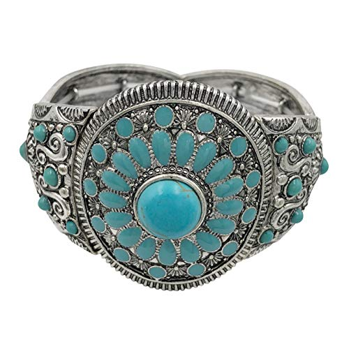 Gypsy Jewels Designer Inspired Wide Silver Tone Stretch Bracelet (Imitation Turquoise Blue Dot)