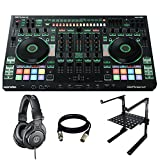 Roland DJ-808 DJ Controller + Audio-Technica ATH-M30x Professional Studio Monitor Headphones + Blast king Laptop Computer Stand for DJ + XLR to XLR Cable 25Ft.