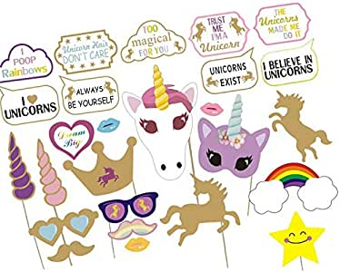 26pcs/Set Unicorn Animal Halloween DIY Photo Booth Props With Paper Straws Stick Crafts Circus Birthday Party Decoration Photobooth