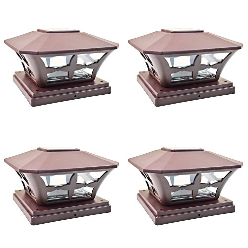 iGlow 4 Pack Brown Outdoor Garden 6 x 6 Solar SMD LED Post Deck Cap Square Fence Light Landscape Lamp PVC Vinyl Wood