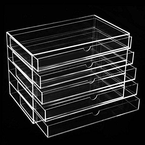 Storage Organizer 5 Drawer Display - Dorfin 5 Drawers Acrylic Cosmetics Makeup Storage Case Display Sets Makeup Organizer -10.2