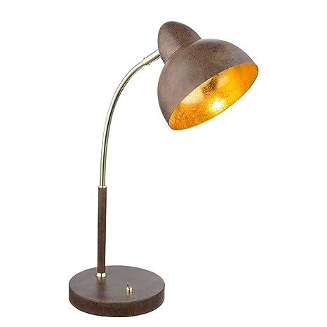 Lámpara de mesa rústica de metal latón en acabado rústico ...