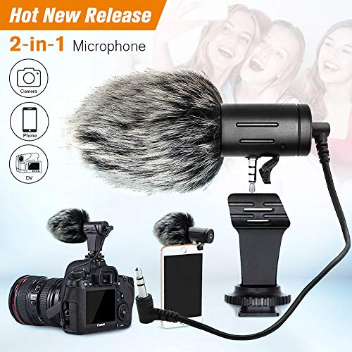 Price comparison product image Camera Microphone rode Microphone Shotgun Mic with Shock Mount for DSLR Cameras and iPhone/Android Smartphone