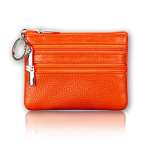 Sherry Kates Lightweight Genuine Leather Coin Purse W/Zipper Pouches And Keyring