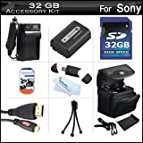 32GB Accessories Kit For Sony Cyber-shot DSC-HX200V Digital Camera Includes 32GB High Speed SD Memory Card + Extended Replacement (1000 maH) NP-FH50 Battery + AC/DC Travel Charger + Mini HDMI Cable + USB 2.0 Card Reader + Case + Screen Protectors + More