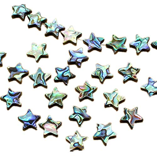 (QTMY 30 PCS Stars Spacer Beads for Earrings Bracelet Jewelry Making Supplies in Bulk (Abalone Shell Stars))
