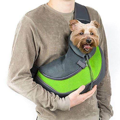 Green Medium Green Medium Outdoor Pet Dog Cat Carrier Sling Hands-Free Shoulder Travel Bag Mesh Backpack Travel Tote Shoulder Bag with Inner Leash,Green,M
