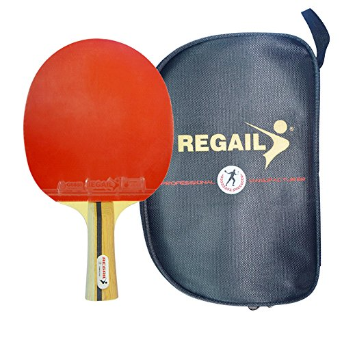 ZCQS Single Professional Table Tennis Racket 7-Lay Wood Blade Ping Pong Paddle High Speed Table Tennis Bat with Sticky Rubber, Sponge, Oxfords Bag