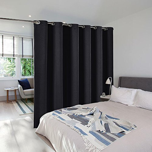 NICETOWN Room Divider Curtain Screen Partitions Hide Clutter Separate Functions Grommet Top Portable Room Divider Screen Curtain Panel For Bedroom (1 Piece, 8ft Tall x 10ft (Black Room Divider)