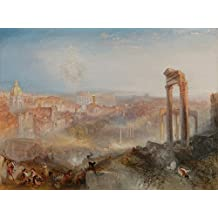 Roma Moderna - Campo Vaccino Visão do Fórum Romano não-escavado 1839 Pintura de William Turner na Tela em Vários Tamanhos (76 cm X 55 cm tamanho da imagem)