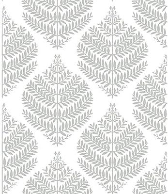 Roommates Hygge Fern Damask Gray Peel And Stick Wallpaper Removable Wallpaper Self Adhesive Wallpaper Amazon Co Uk Diy Tools