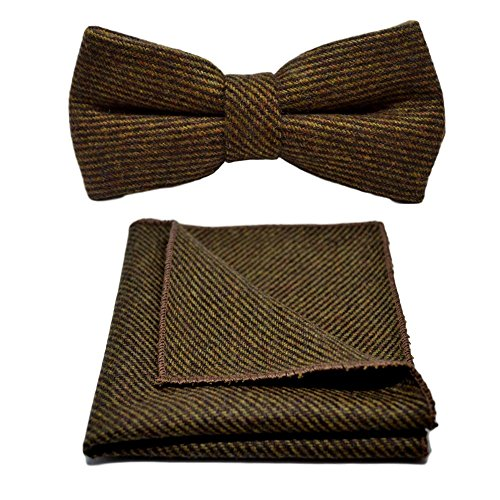 Brown Sharkskin Bow Tie & Pocket Square (Mens Brown Sharkskin)