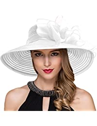 cebe7057718 4.4 out of 5 stars 43 · Women Kentucky Derby Church Dress Cloche Hat  Fascinator Floral Tea Party Wedding Bucket Hat S052