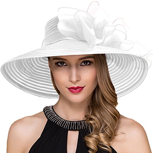 Women Kentucky Derby Church Dress Cloche Hat Fascinator Floral Tea Party Wedding Bucket Hat S052 (S062-White)