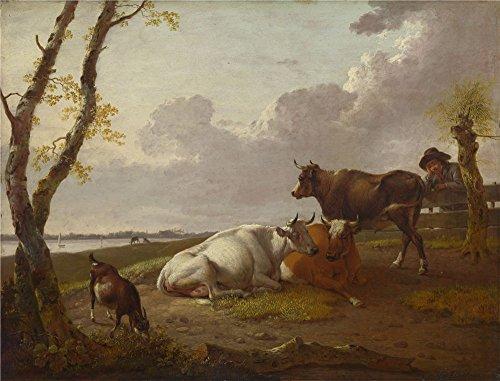 The Perfect Effectキャンバスの油絵` Heinrich Wilhelm Schweickhardt牛」、サイズ: 12x 16インチ/ 30x 40cm、この素晴らしいアート装飾プリントキャンバスは、フィットのパウダールーム装飾、ホームアートワークとギフトの商品画像