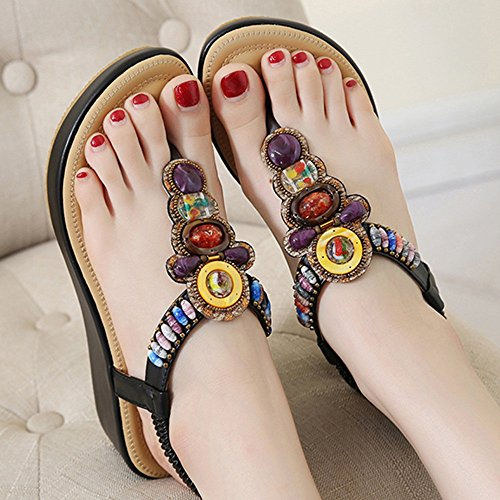 de 5 Elastic del 02 Sandalias XIAOLIN Altura Tanga la Zapatos Post Flat Sandalias Color de opcional Tamaño de T redonda Tamaño Strap del verano las mujeres flor punta 02 Cm UK4 talón Beach EU37 q6IwSB6