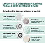 Lavany Facial Cleansing Brush, 7-in-1 Waterproof Portable Wireless Charging Cleaning brush with 2 Speed Settings for Skin Care