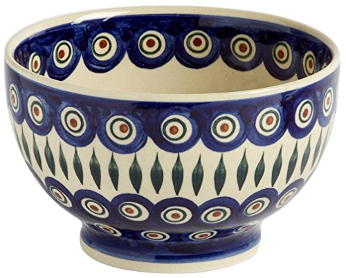 Polish Pottery Blue Peacock Feathers Footed Serving Bowl, Handmade Ceramic, 7.25