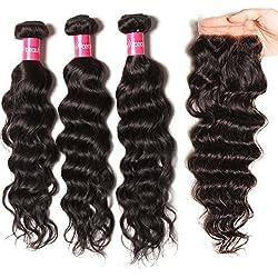 Longqi 10a Unprocessed Brazilian Virgin Hair Natural Wave Bundles With Closure Cheap Wavy Human Hair Bundles Deal Natural Color 3 Bundles of Brazilian Hair With Closure(14 16 18+12 Free Part Closure)
