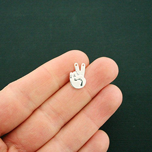 Extensive Collection of Charm 8 Hand Sign Connector Charms Silver Tone Victory or Peace Sign - SC6512 Express -