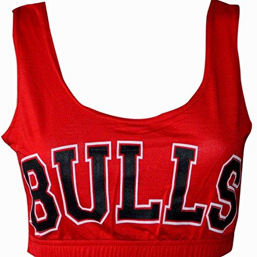 MyMixTrendz - Ladies 'Bulls' Print Cropped Bra Top (M/L (UK 12-14 EU 40-42 US 8-10), (Miley Cyrus Costume)