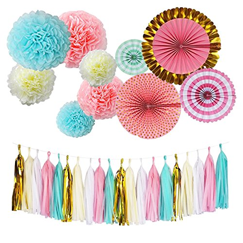 Monkey Home Tissue Paper Tassel Tissue Paper Pom Poms Flowers Paper Fans Kit for Birthday Decorations Wedding,Festival,Party Decoration (Mint-Pink-Ivory,White-Gold Mylar,Peach Yellow)