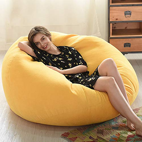 HOYOCE Funda De Silla De Puff Bean Bag, Cubierta De Sofa Algodon Aterciopelado Degradable Bean Bag Bazaar Lounge Gaming Chai,Amarillo,90 * 110CM