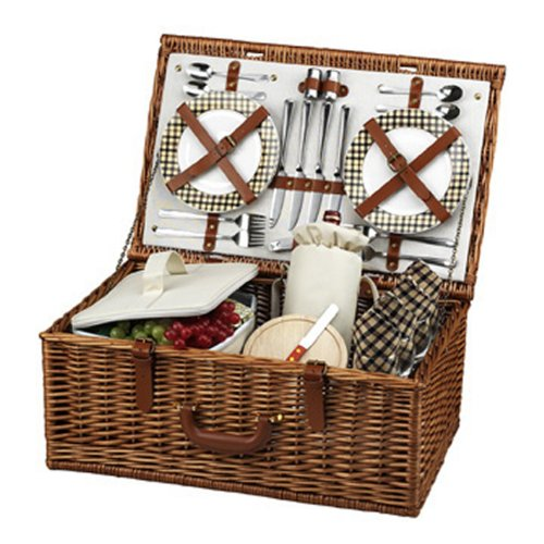 Picnic at Ascot Dorset English-Style Willow Picnic Basket with Service for 4 - London Plaid by Picnic at Ascot