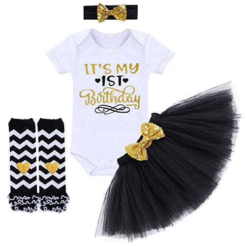 - It's My 1st / 2nd Birthday Outfit Baby Girl Romper Tutu Skirt Glitter Sequin Bowknot Headband Leg Warmers Clothes 4pcs Set Cake Smash Photography Props Black 1st Birthday 1 Year Old