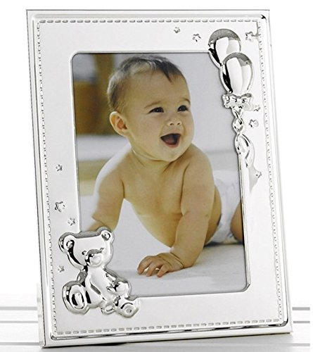 "New Baby Silver Photo Frame with Teddy and Balloons for 5"" x 7"" Photo Shudehill"
