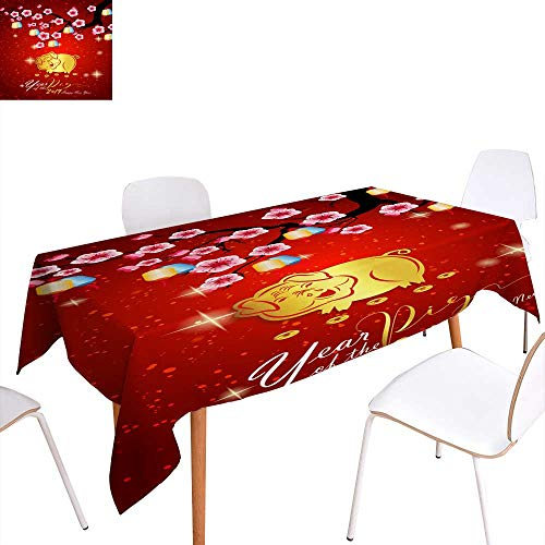 longbuyer Dinning Tabletop Decoration Happy Chinese New Year Year of The Pig Lunar New Year Rectangle/Oblong W 52