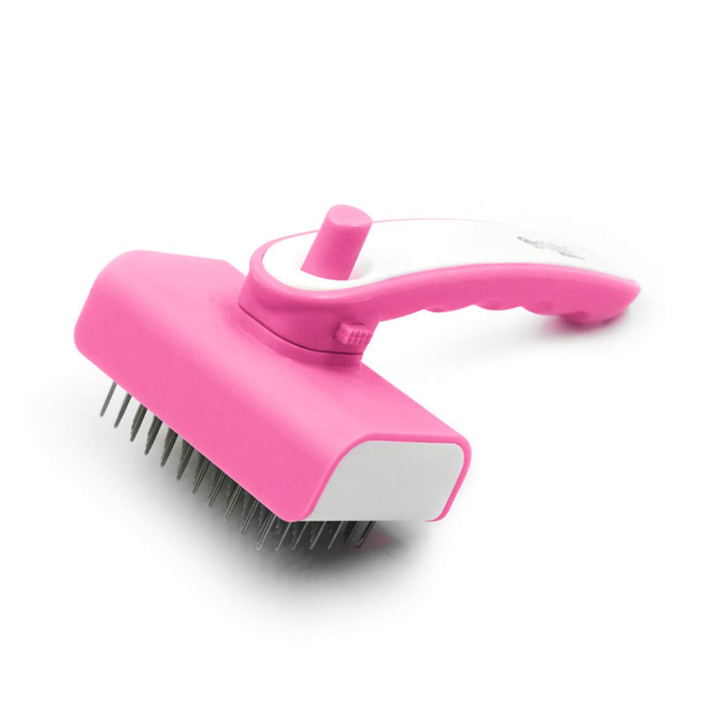 SummarLee Pet Comb Stainless Steel Needle Hair Removal Comb Dog Cat Open Knot Comb Hair Removal Telescopic Brush Rubber Handle Pink Green 16.8cm × 9.8cm,Pink