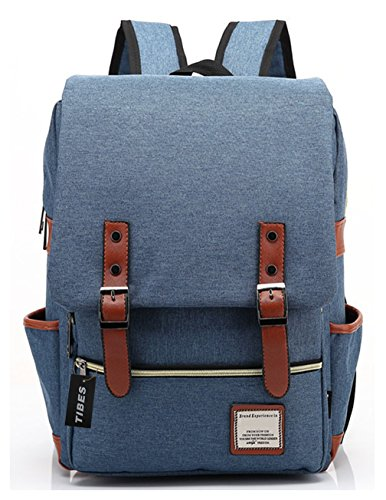 Tibes Mochila estilo Cool Mochila escolar Mochila de tela de Oxford mochila Estudiante universitario Azul