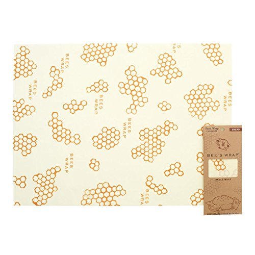 Bees Wrap Reusable Bread Wrap, Eco Friendly Reusable Beeswax Food Wrap, Sustainable, Zero Waste, Plastic Free Bread Keeper & Food Storage (Honeycomb Print)