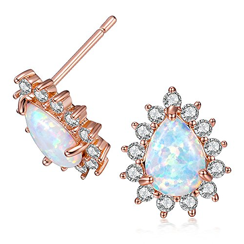 OPALBEST October Birthstone Rose Gold Teardrop Opal Stud Earrings With Halo Cubic Zirconia(cz) For Her