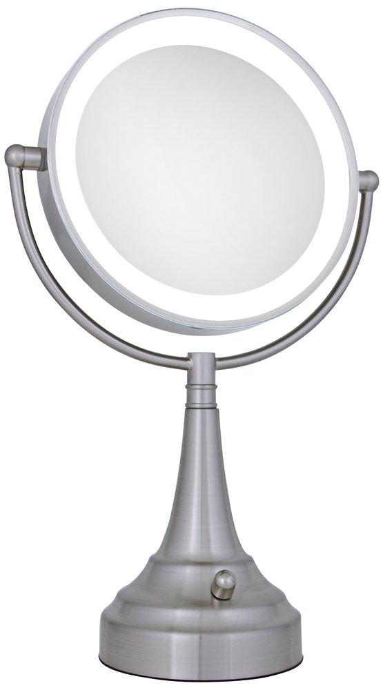 Amazon Zadro 10x Mag Next Generation LED Cordless Double Sided Round Vanity Mirror 11 Inch Satin Nickel Finish Personal Makeup Mirrors Beauty