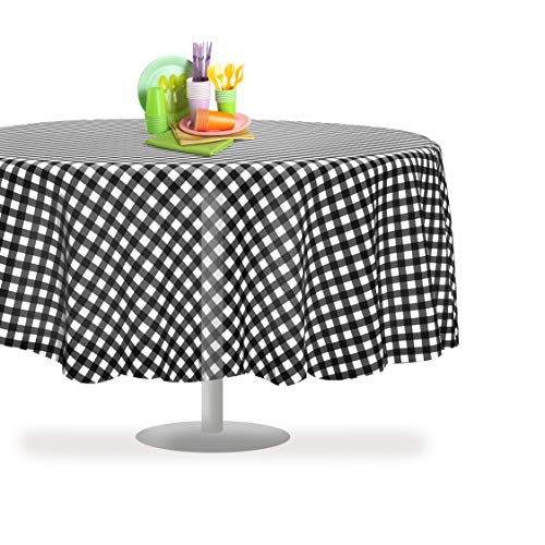 Black Checkered Gingham 6 Pack Premium Disposable Plastic Tablecloth 84