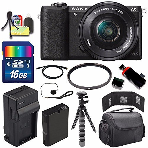 Sony Alpha a5100 Mirrorless Digital Camera with 16-50mm Lens (Black) + Battery + Charger + 16GB Bundle 1 – International Version (No Warranty) For Sale