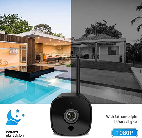 Outdoor Security Camera, 1080P WiFi Camera Wireless Surveillance Cameras, PIR Smart Motion Detection, IP Camera with IP66 Waterproof, IR Night Vision, Activity Alert, Deterrent Alarm - iOS, Android