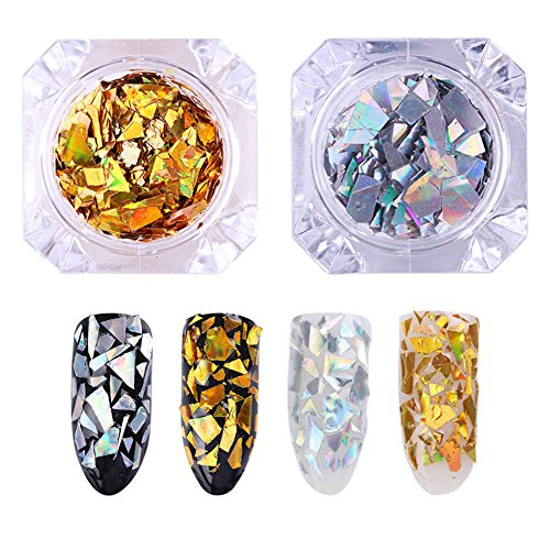 Holographic Glitter Nail (BORN PRETTY Laser Nail Sequins Holographic Gold Silver Glitter Paillette Nail Art Flakes 2)