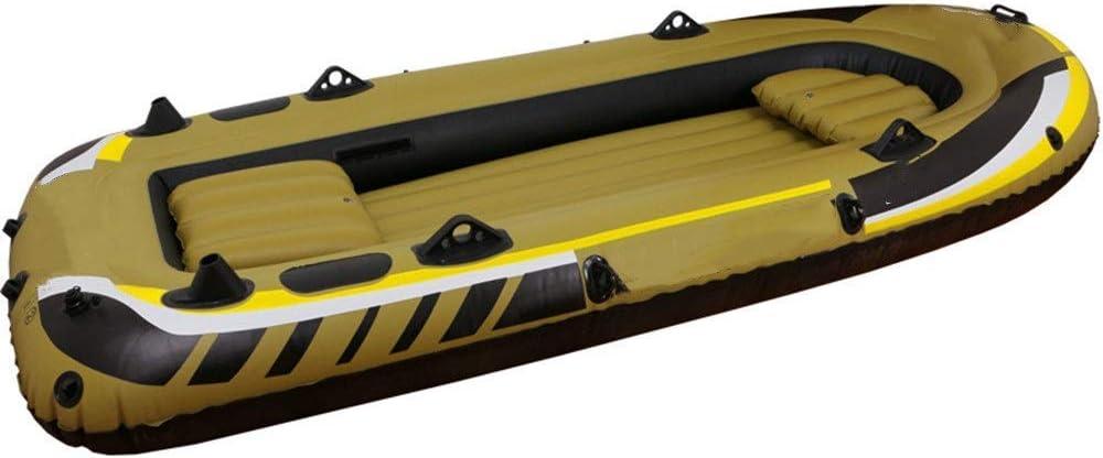 Kayak inflable Barco 3 personas pescando Reparación 350 bote de goma con el plástico de la bomba de mano de paleta Kit inflable kayak (Color: El color del cuadro, Tamaño: 305x136x42cm) QIANGQIANG