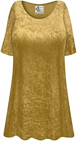 Gold Crush Velvet Plus Size Supersize Extra Long A-Line Top