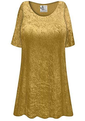 Gold Crush Velvet Plus Size Supersize Extra Long A-Line Top 9xT