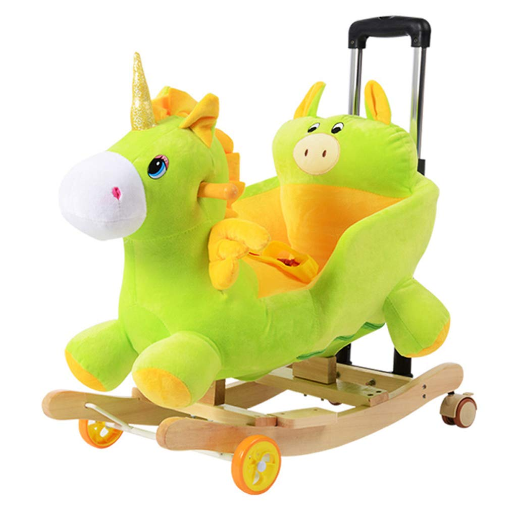 envío rápido en todo el mundo C Silla mecedora Caballo Mecedora Rocking Horse Horse Horse Madera Maciza para niños Música Trojan de Doble Uso para bebés mecedoras Cuna de Juguete de Regalo de bebé 58  28  50cm   60  28  53cm FANJIANI  ventas en linea